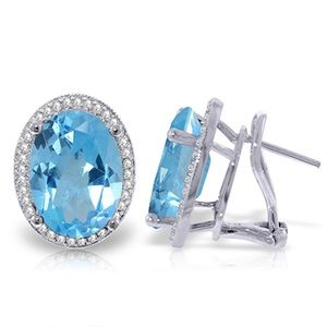 EARRING WITH NATURAL DIAMONDS & BLUE TOPAZ